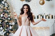 Christmas Winter Woman With Christmas Presents. Fairy Beautiful Christmas And Christmas Tree Festive Make-up. Fashion Model Girl With A Gift Box On Background Of A Fireplace In A Fairy-tale Castle