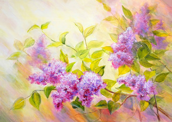 Panel Szklany Kwiaty Thickets of lilac bush at sunrise. Oil painting