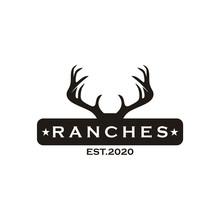 Deer Antler Horns Logo Vector Design Retro Ranch Illustration Template