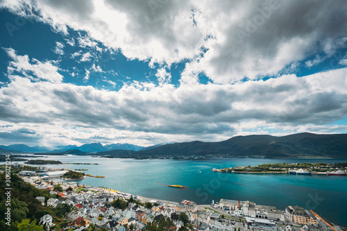 Fototapety, obrazy: Alesund, Norway. Amazing Natural Bright Sunset Dramatic Sky In Warm Colours Above Alesund Islands. Famous Norwegian Landmark And Popular Destination. Top View