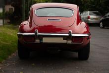 Jaguar E-Type: Red British Classic Sportscar Rear View