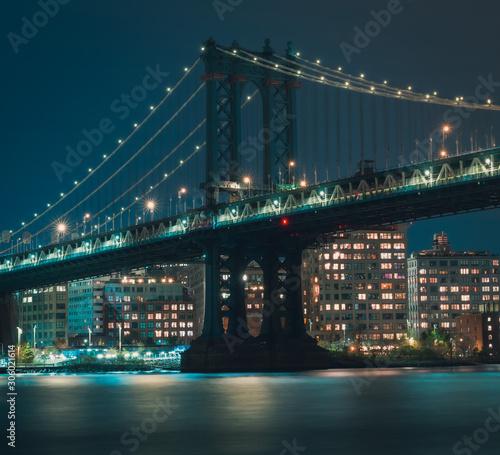 manhattan most oświetlenie światła noc rzeka zatoki sky skyline skyline new york