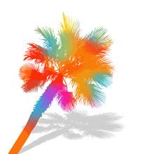 Multi-colored Palm Tree. Hello Summer. Vector Illustration