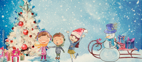 Christmas time, happy children. Watercolor banner - 306030051