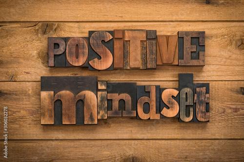 Tablou Canvas positive mindset, phrase written with vintage letterpress printing blocks on rus