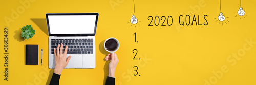 2020 goals with person using a laptop computer Wallpaper Mural