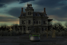 Spooky Old Abandoned Mansion, 3d Render.