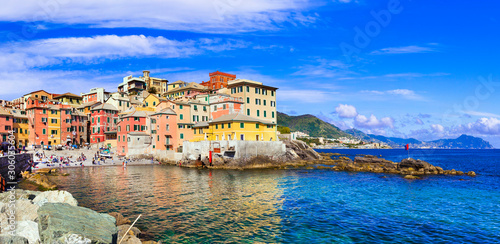 Stampa su Tela  Beautiful villages of Italy - colorful coastal Boccadasse in Genova, Liguria