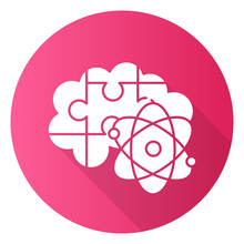Brain Teaser Pink Flat Design Long Shadow Glyph Icon. Science Puzzle, Riddle, Logic Game. Mental Exercise. Ingenuity, Knowledge, Intelligence Test. Problem Solving. Vector Silhouette Illustration