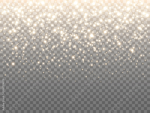 Obraz Gold glitter particles. Luxury sparkling texture. Greeting card template. Falling glowing confetti. Firework effect on transparent backdrop. Shining banner. Vector illustration - fototapety do salonu