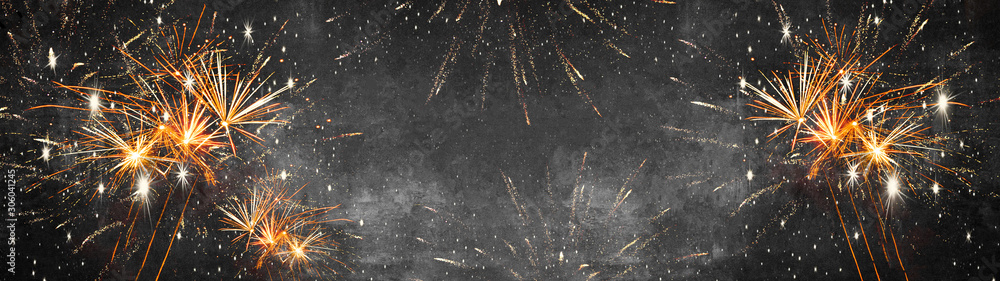 Fototapeta Silvester background banner panorama long- firework on rustic dark black grey stone concrete texture, top view with space for text