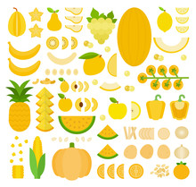 Set Of Yellow Products Icons F...