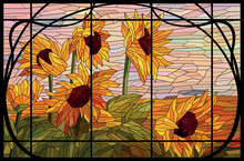 Stained Glass Window Sunflower...