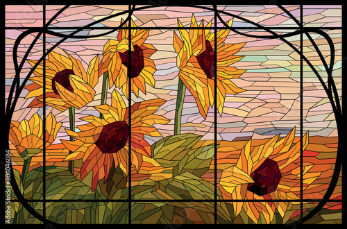Photo Stained glass window sunflowers in a frame