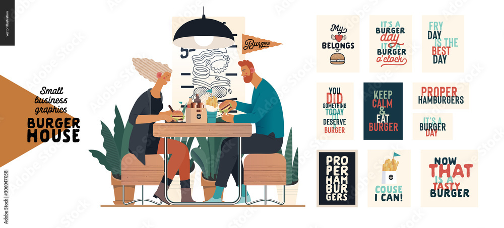 Burger house -small business graphics - visitors -modern flat vector concept illustrations -young couple eating burgers at the table in burger restaurant, interior, set of captions posters