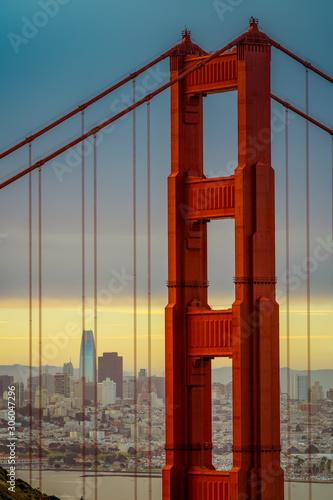 golden gate bridge in san Francisco during sunrise Canvas Print