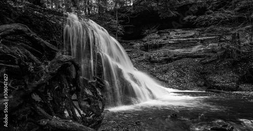 waterfall black and white at McConnell's Mills state park Pennsylvania