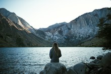 Watching The Sun Set On The Shore Of Convict Lake In California