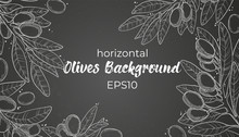 Vector Horizontal Hand Drawn Banner Template With Line Art Olive Branch, Leaves, Berry And Copy Space For Your Text On Black Board. Olives Chalk Illustration Background In Sketch Style.