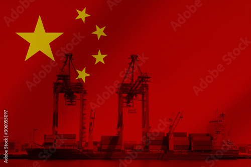 3D Illustration Flag of China with image of harbour cranes loading ship Canvas Print