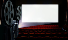 Projector In Cinema Hall With Blank White Screen