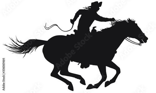 Cuadros en Lienzo A silhouette of a wild west cowboy riding a running horse