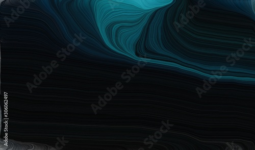 smooth swirl waves background design with black, teal and dark slate gray color - 306062497