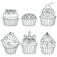 Set Of Cupcakes. Black-n-white Hand Drawn Illustration Of Cupcakes Decorated With Cream, Donut, Cherry And Hearts. Isolated On White Background. Vector 8 EPS.