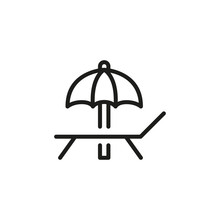 Simple Sunbed Line Icon.