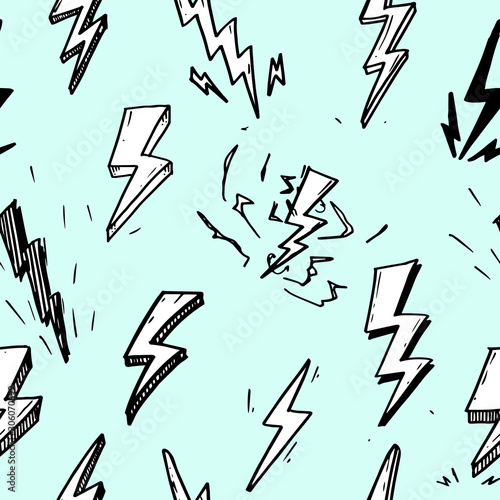 seamless pattern of hand drawn vector doodle electric lightning bolt symbol sketch illustrations Canvas Print