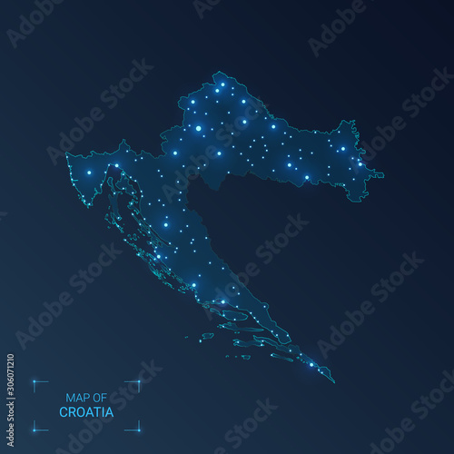 Fotografie, Obraz Croatia map with cities