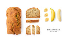 Creative Layout Made Of Banana Bread On The White Background. Flat Lay. Food Concept. Macro Concept.