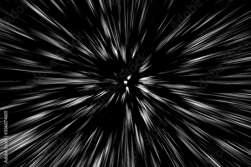 Photo  Bokeh white lines on black background, abstraction, abstract speed light motion
