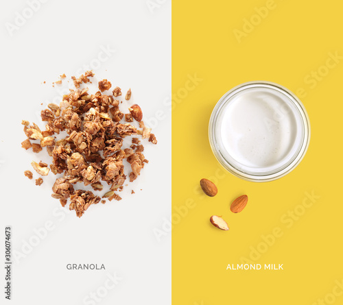 Fotografía  Creative layout made of granola and almond milk