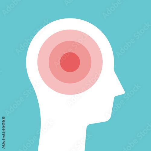 Obraz Head silhouette, pain, headache - fototapety do salonu