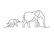 Mom And Baby Elephant. Continuous Line Vector Illustration.
