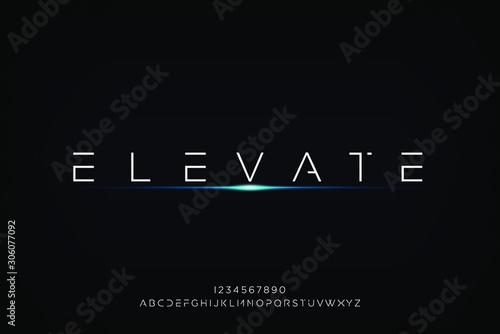 elevate. Abstract technology futuristic alphabet font. digital space typography vector illustration design