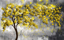 3d Illustration, Dark Spotted Background, Thin Curved Tree With Yellow Flowers