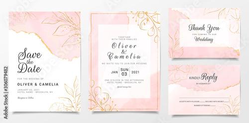 Vászonkép Rose gold watercolor wedding invitation card template set with golden floral decoration