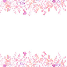 Watercolor Pink Frame Flower Valentines Day Border