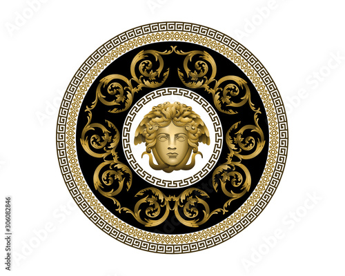 Vector Bronze Baroque Fashionable mandala in vintage style with medusa head Wallpaper Mural