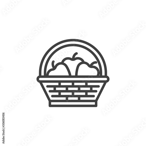 Canvastavla Fruit basket line icon