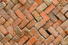 Old Red Brick Stacked Wall Bac...