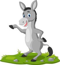 Cute Donkey Cartoon Waving Hand On The Grass