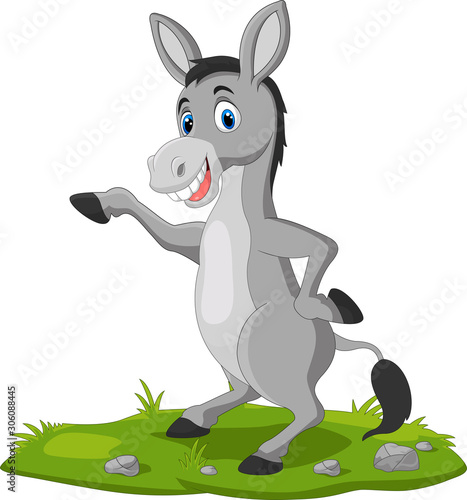 Photographie Cute donkey cartoon waving hand on the grass