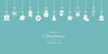 Minimalist Christmas Greeting Card With Hanging Ornaments And Text. Xmas Decoration. Vector
