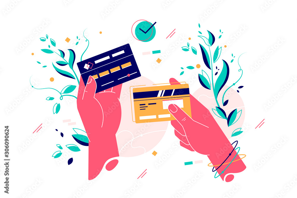 Fototapeta Credit cards in female hands