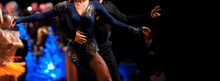 Woman And Man Dancer Latino In...