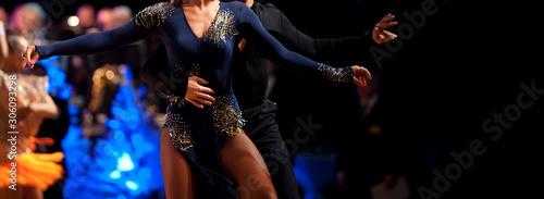 Fototapeta woman and man dancer latino international dancing