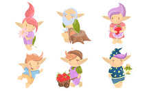 Cute Troll Characters Vector Set. Funny Creatures With Colored Hair Collection